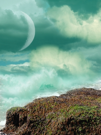 fairytale background: Fantasy landscape in the sea with big rock Stock Photo