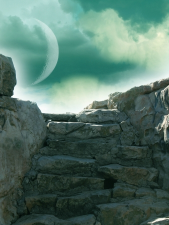 Fantasy landscape with rock stairway and moon photo