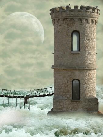 castillos de princesas: la torre en el oc�ano con el puente y las olas Foto de archivo