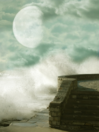 Fantasy landscape with waves and  balcony photo
