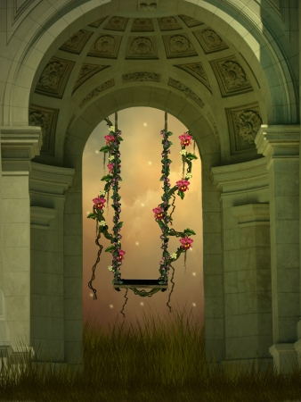 fairy garden: Fantasy swing with flowers in a old arch Stock Photo