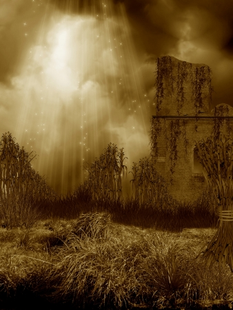 Fantasy lanscape and corn field with ruin photo