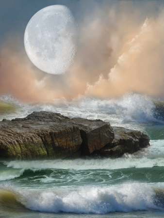 Fantasy landscape in the ocean with big moon photo
