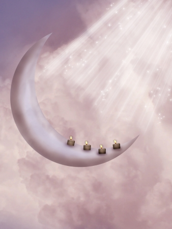 Fantasy moon with candles and lighting in a purple sky photo
