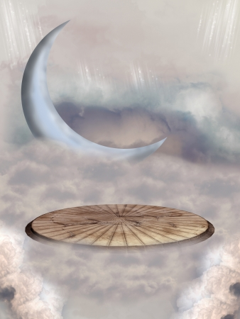 fairytale background: fantasy stage in the sky with big moon