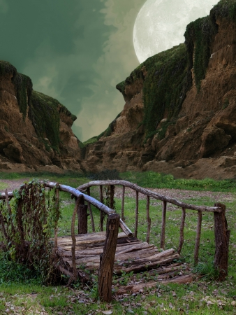 manipulation: Fantasy bridge with mountain and big moon Stock Photo
