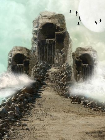 Primitive stone monument with waves and clouds