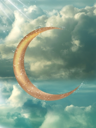 fantasy art: Golden moon in a blue sky with glow Stock Photo