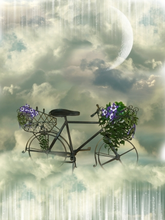 Classic bycicle in the heaven with flowers photo