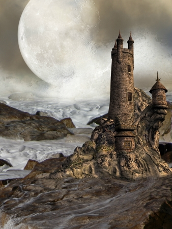 fairytale background: Fantastic castle with rocks waves and a big moon