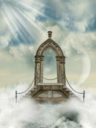 arcos de piedra: Fantástico arco con escalera en el mar