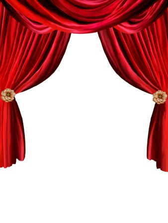 photomanipulation: red curtain in withe background with flowers