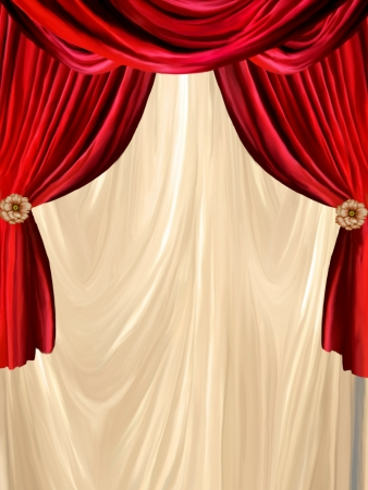 photomanipulation: red curtain with golden background and flowers Stock Photo