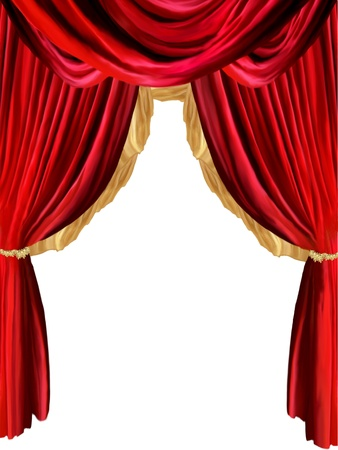 scenario: curtain background with golden detail and withe background