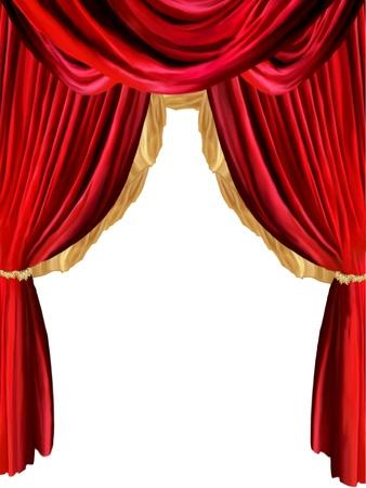 telon de teatro: telón de fondo con detalles de oro y fondo withe Foto de archivo