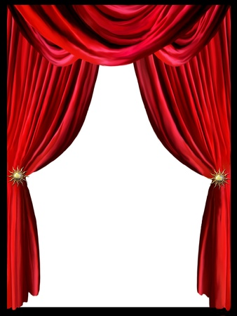 Red curtain with border black in a white background photo