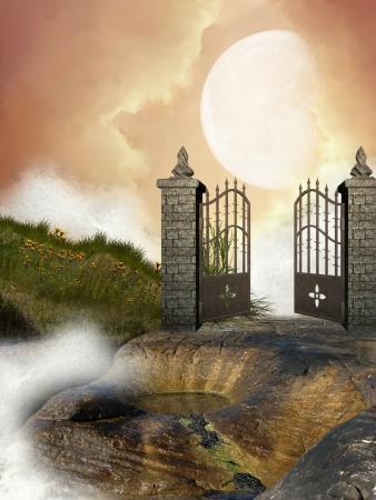 Open doors with columns in the rocks photo