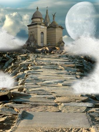 tempels: Fantasy tempel in de rotsen met grote maan Stockfoto