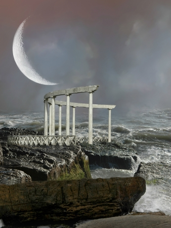 Fantasy monument in the coast with big moon photo