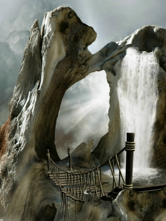fantasia: Paisajes de Fantas�a en un ba�l con cascada Foto de archivo