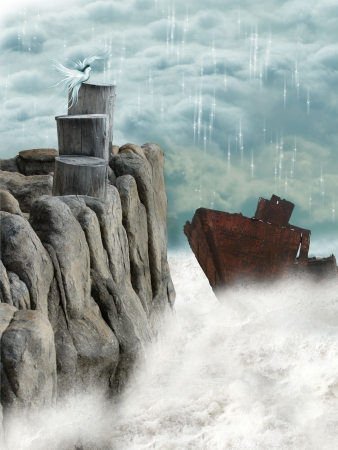 rusty ship in the ocean photo