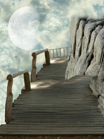 Balcony in the sky with big rocks