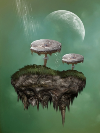Fantasy mushroom on a rock suspended in the sky Stock Photo - 14548226