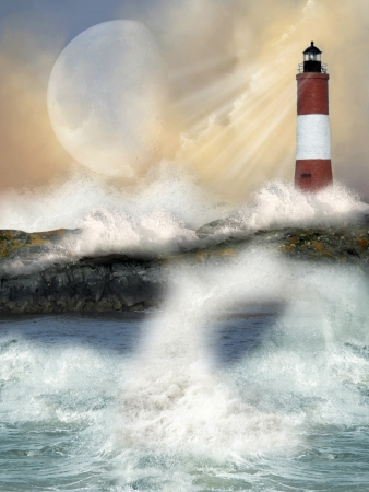 lighthouse in a cliff with big waves Stock Photo