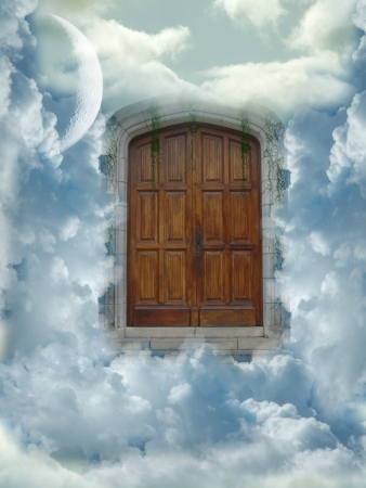 staircase structure: heaven door with clouds and big moon Stock Photo