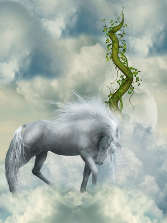 Fantasy white horse in the sky with green branch photo