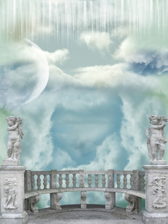fairytale background: Balcony in the sky with angel statues