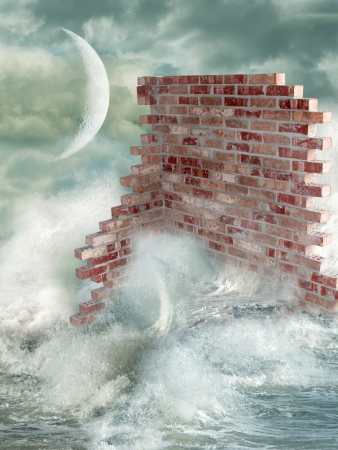 wall in the ocean with big waves photo