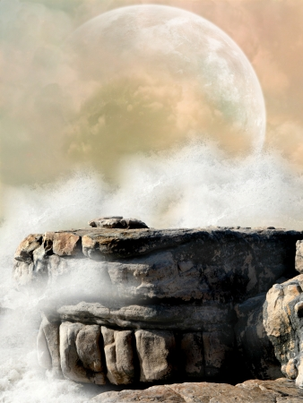 Fantasy Landscape in the ocean with big moon