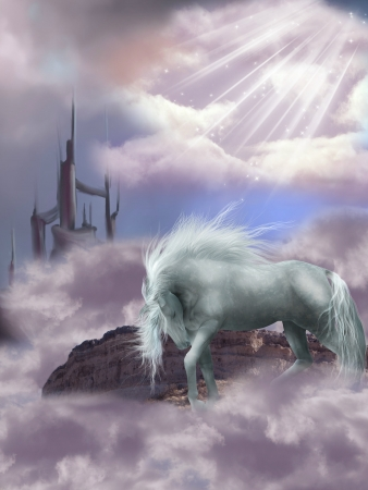 Magic Horse in the sky with castle photo