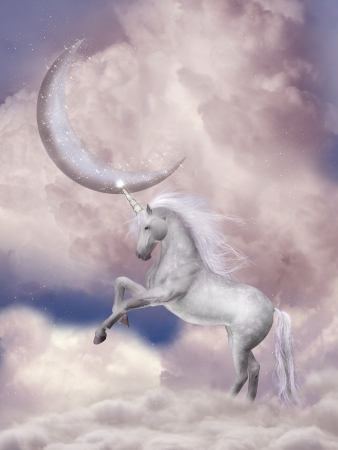 Unicorn in the sky with pink moon Stock Photo
