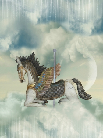 carrousel: Carrousel wooden horse in the sky with big moon Stock Photo