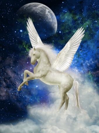 pegaso: Pegasus en el cielo con grandes nubes