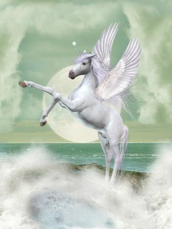 pegaso: Fantas�a paisaje con el unicornio en el oc�ano Foto de archivo