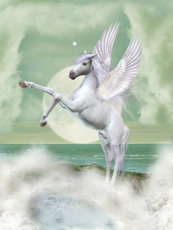 Fantasy landscape with unicorn in the ocean