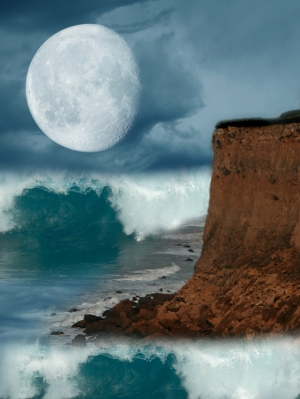 fantasy landscape with cliff in the ocean photo