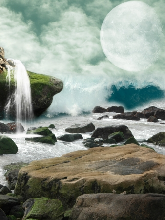 Waterfall in a fantasy landscape with moon Stock Photo