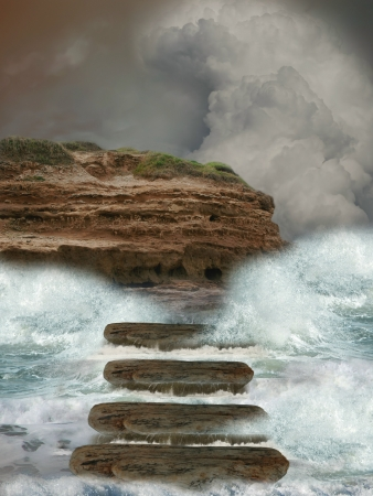 Storm in the ocean with cliff and stairway photo