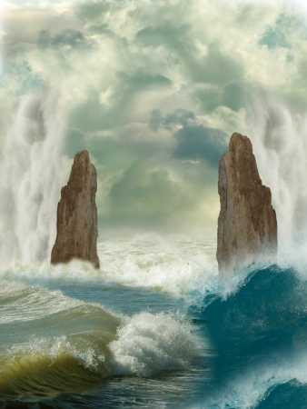 Fantasy Landscape in the ocean with big rocks photo