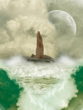 Fantasy Landscape in the ocean with big waves photo