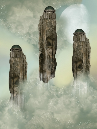 Fantasy Landascape with temples in the sky photo