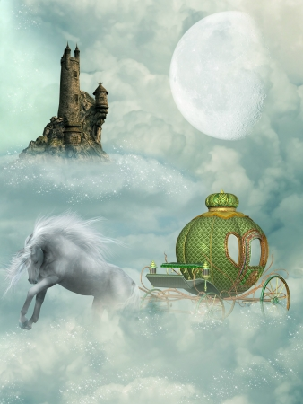 Fantasy castle and carriage in the sky Stock Photo