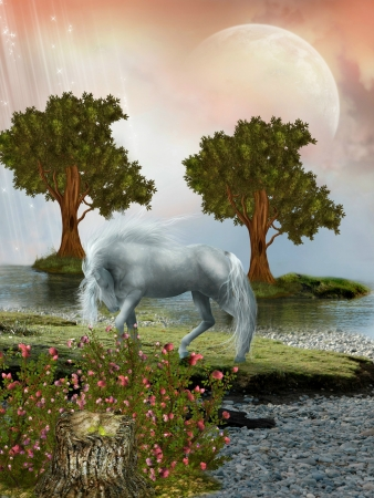 scenario: Fantasy Landscape with horse and two trees Stock Photo