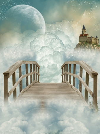fairytale background: Fantasy Landscape with bridge and old castle Stock Photo