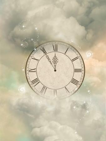 Magic old sepia clock in the sky