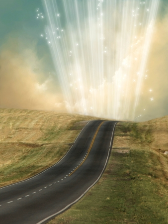 scenario: lonely landscape in the road with magic light  Stock Photo